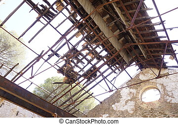 metallic roof of old building mine, Tharsis, Huelva, Spain
