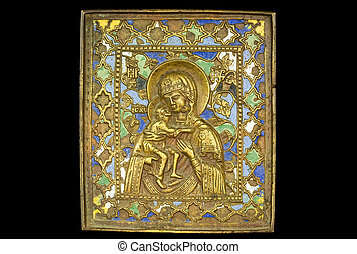Icon 02 - An ancient madonna metallic icon