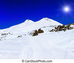 Beautiful view of mountaint Elbrus, - highest peak of Europe