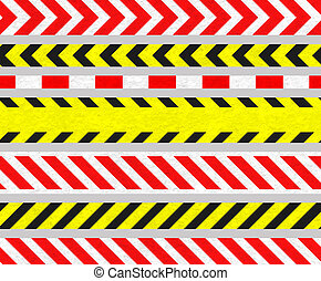 Set of Caution TapeS and Warning Signs, SEAMLESS Strip, Old...