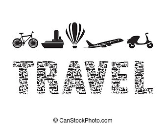 Illustration of the word travel formed with transportation...