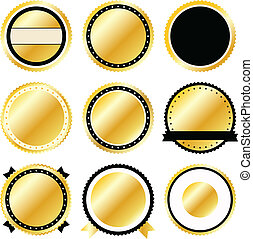 Gold Badge Set Icons - Vector golden badge set icons in...