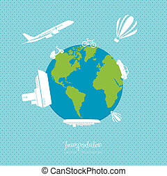 Illustration of transportation icons around the world,...