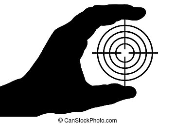 Hand with target 1 - The silhouette of a man\\\'s hand holds...