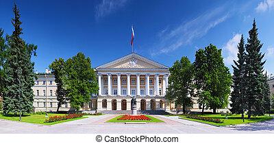 hermoso, arquitectura, Smolny, palacio, C/, Petersburg