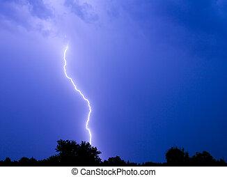 Lightning Strike - Single bolt of lightning in a...