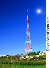 Big television transmitter and landscape view of the...