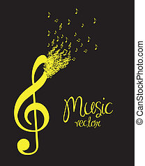 illustration of musical note forming with small musical...