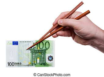Chopsticks with banknote 1 - Hand holding the chopsticks...