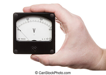 Hand with voltmeter 2 - Man\\\'s hand holds a voltmeter....