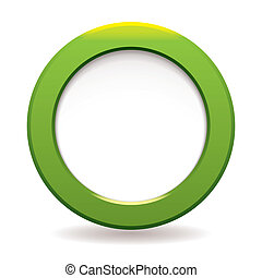 Green circle icon - Green large bevel with white copyspace...