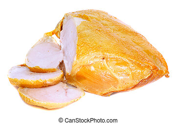 Slice on smoked chiken with knife Isolated over white