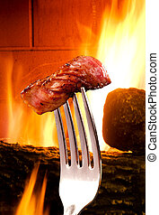 Steak - Steak on a silver fork
