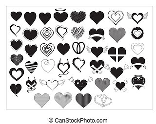 Hearts Vectors - Creative Abstract Conceptual Design Art of...