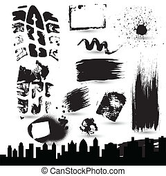Grunge Strokes n Skylines Vectors - Creative Abstract...