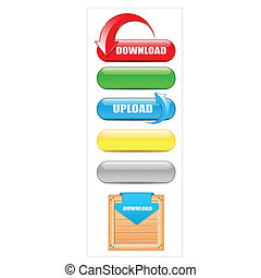 Download and Upload Buttons - Creative Abstract Conceptual...