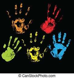 Handprints Vectors - Creative Abstract Conceptual Design Art...