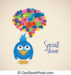 social networking - Illustration of blue bird with social...