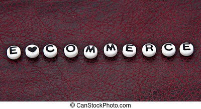 Word E Commerce on Black and Red Leather
