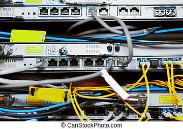 Telecommunication equipment of network cables in a...