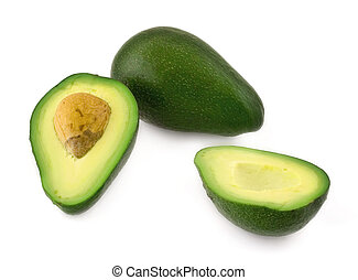 avocado fruit - cut avocado fruit against white background...