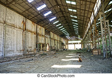 Deserted factory, Interior of old mine of Tharsis, Spain