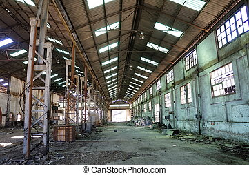 Abandoned Industrial interior - Deserted factory, Interior...