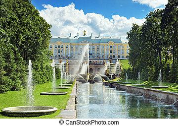 grandioso, cascata, Pertergof, Saint-Petersburg,...