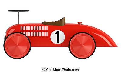 Toy racing car - Stylised simple red plastic toy racing car...