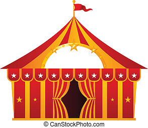 Red circus tent isolated on white - Circus tent illustration...