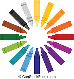 Colorful crayons in circle isolated on white - Crayons set...