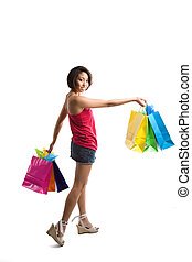 Shopping woman - An isolated shot of a beautiful black woman...