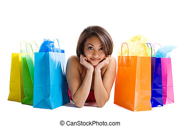 Shopping woman - An isolated shot of a black woman with...