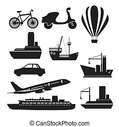 transportation icons - Illustration of transportation icons,...