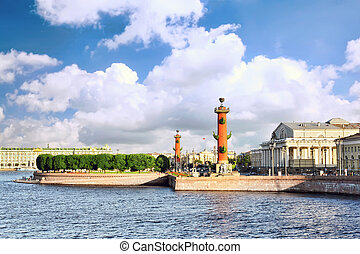 St. Petersburg.View on the Winter Palacel,Rostral columns. -...
