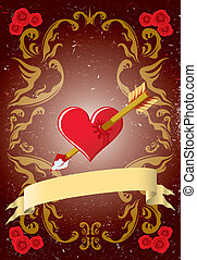 Vintage Valentine card with roses, arrow and heart
