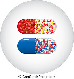 Medicine capsules - Set of red and blue medicine capsules