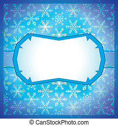 Frozen frame with snowflakes - Frozen icy blue frame with...