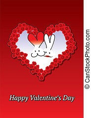 Rabbits couple Valentine card with heart made of roses
