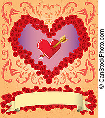 Vintage Valentine card with ribbon and heart