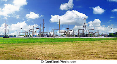 The Substation and Power Transmission Lines Panorama