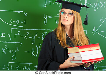 academic career - Graduating student girl in an academic...