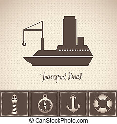 Illustration of boat, with offshore icons, vector...