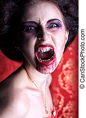 roar vampire - Portrait of a bloodthirsty female vampire.