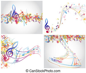 Multicolour musical notes staff background Vector...