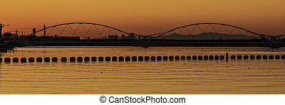 Bridge at Sunset - Silhouette of the Tempe Town Lake...