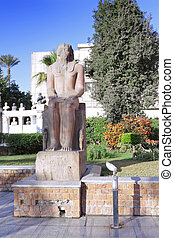 Cairo Museum of Egyptology and Antiquities Exhibits in front...