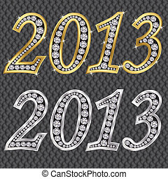New year 2013 golden and silver with diamonds, vector