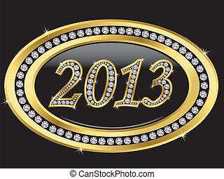 New year 2013 icon, golden