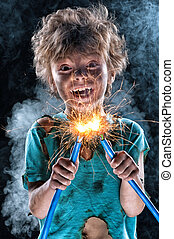 Crazy little electrician - Portrait of crazy little...